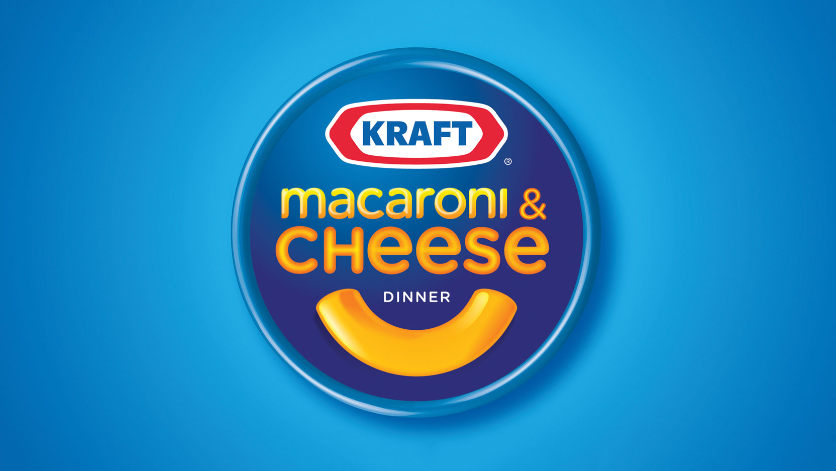 A bright blue circle strengthens Kraft's claims on its core colors and a circular holding shape was introduced to lock up the logo—all supported by a noodle-smile.